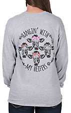 Girlie Girl Originals Women's Sport Grey Hangin' With My Heifers Long Sleeve Tee