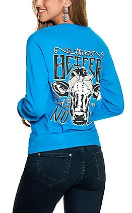 "Girlie Girl Originals Women's Sapphire ""This Heifer Takes No Bull"" Graphic Long Sleeve T-Shirt"