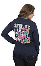 Girlie Girl Originals Women's Navy Oh How He Loves Us Long Sleeve Tee