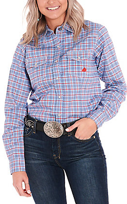 Forge Workwear Women's Blue & Red Plaid Long Sleeve FR Work Shirt