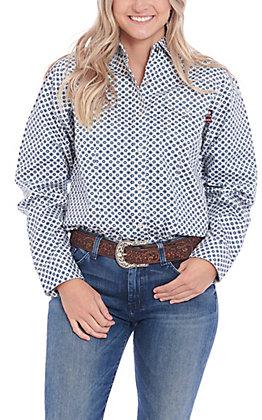 Forge Women's Blue Geo Print Long Sleeve FR Work Shirt