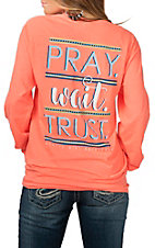 Girlie Girl Originals Women's Heather Coral Pray Wait Trust L/S T-Shirt