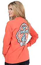 Girlie Girl Original Women's Neon Coral Cross Long Sleeve Tee