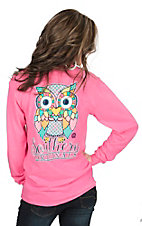 Girlie Girl Originals Women's Pink with Colorful Preppy Owl Long Sleeve Tee