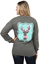 Girlie Girl Women's Charcoal Grey Preppy Deer Long Sleeve Tee