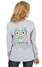 Girlie Girl Originals Women's Sport Grey with Colorful Preppy Owl Long Sleeve Tee
