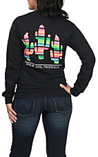 Girlie Girl Originals Women's Black Serape Cactus T-Shirt