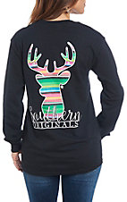 Girlie Girl Originals Women's Black Serape Deer T-Shirt