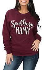 Girlie Girl Originals Women's Maroon Southern Mama L/S T-Shirt