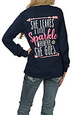 Girlie Girl Originals Women's Navy Sparkle Long Sleeve T-Shirt