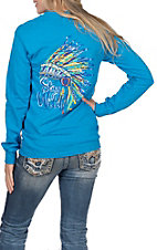 Girlie Girl Originals Women's Turquoise Headdress Stay Wild Long Sleeve T-Shirt