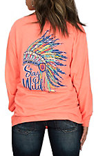 Girlie Girl Originals Women's Heather Coral Stay Wild Long Sleeve T-Shirt