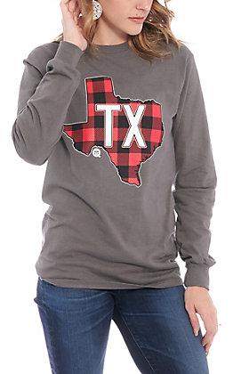 Girlie Girl Originals Grey Buffalo Plaid Texas Long Sleeve T-Shirt
