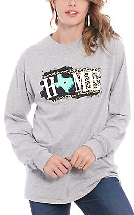 Girlie Girl Originals Grey Home Long Sleeve Graphic T-Shirt