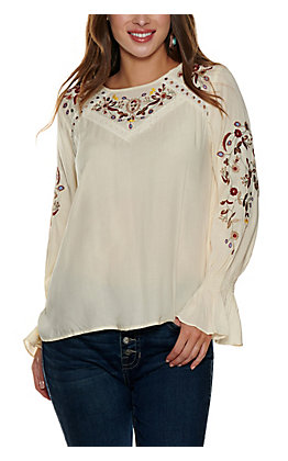 Cowgirl Legend Women's Cream Embroidered Top