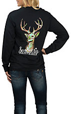 Girlie Girl Originals Women's Black Watercolor Deer L/S T-Shirt