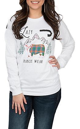 Lazy J Ranchwear Women's Long Sleeve Winter Scene T-Shirt