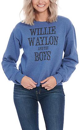 Gina Women's Blue Willie Waylon and the Boys Long Sleeve Sweatshirt