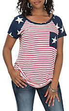 Lovely J Women's Navy Star Sleeve and Red and White Stripe Casual Knit