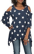 Lovely J Navy Star Print Cold Shoulder Casual Knit Shirt