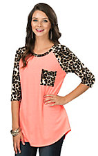 Coral with Leopard Pocket and 3/4 Sleeve Casual Knit Top