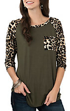 James C Women's Olive w/ Leopard Print 3/4 Sleeve Shirt