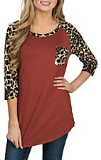 James C Women's Rust w/ Leopard Print 3/4 Sleeve Shirt