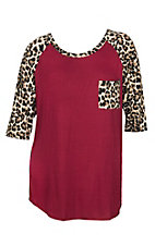James C Women's Burgundy w/ Leopard Print 3/4 Sleeve Shirt - Plus Size