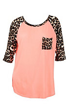 Coral with Leopard Pocket and 3/4 Sleeve Casual Knit Top - Plus Size
