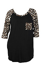 Black with Leopard Pocket and 3/4 Sleeve Casual Knit Top - Plus Size