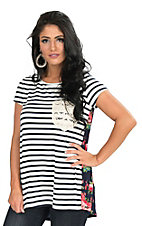 Ladies Navy and White Stripe with Floral Print Back and Crochet Pocket Short Sleeve Casual Knit Top