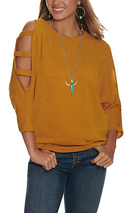 Lovely J Women's Mustard with Ladder Dolman Sleeves Tunic Top