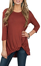 James C Women's Rust L/S Knot Hem Casual Knit Shirt