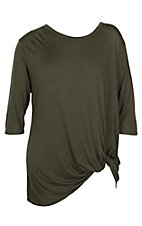 James C Women's Olive L/S Knot Hem Casual Knit Shirt - Plus Size