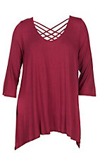 James C Women's Burgundy Criss Cross Shirt - Plus Size