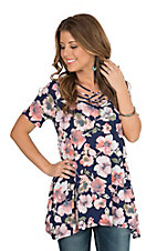 Lovely J Women's Navy Floral Short Sleeve Casual Knit Top