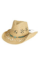 Tropical Trends by Dorfman Pacific Natural with Turquoise Beaded Band Fashion Cowboy Hat