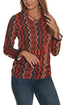 Cowgirl Legend Women's Rust and Tan Aztec Print Tie Neck Long Sleeve Fashion Top