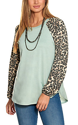 Lovely J Women's Sage and Leopard Print Long Sleeve Top