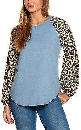 Lovely J Women's Blue and Leopard Print Long Sleeve Top - Plus Sizes