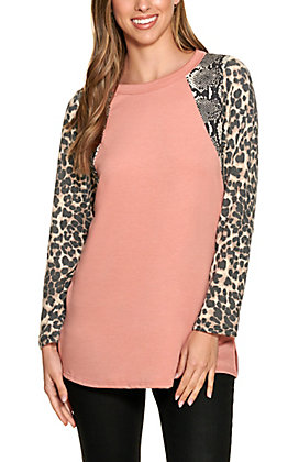 Lovely J Women's Rust and Leopard Print Long Sleeve Top