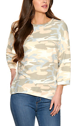 Lovely J Women's Olive Camo Long Sleeve Top