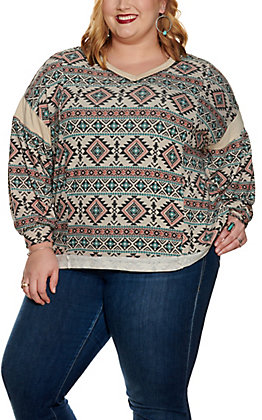 Lovely J Women's Cream with Mauve and Teal Aztec Print Long Sleeve Top - Plus Sizes