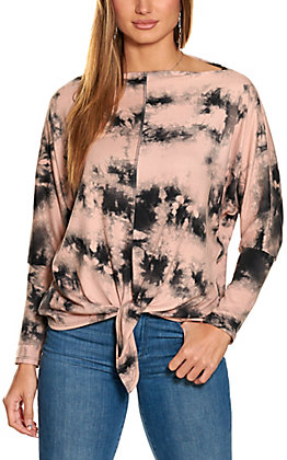 Lovely J Women's Pink and Black Tie Dye Long Sleeve Top