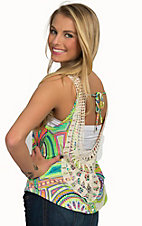 Surf Gypsy Women's Neon Circle with Crochet Tank