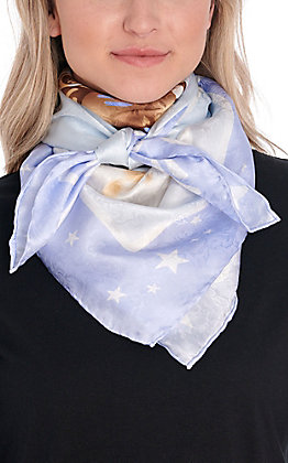 Blue Bronc Riding Cowgirl Silk Wild Rags Scarf