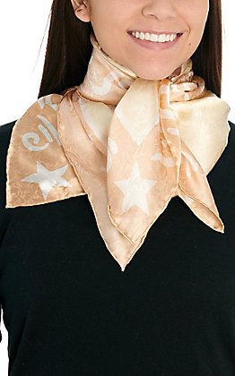 Tan Bronc Riding Cowgirl Silk Wild Rags Scarf