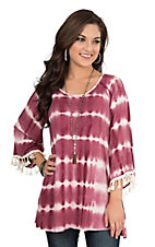 James C Women's Maroon and White Tie Dye Long Bell Sleeve Ribbed Casual Knit Top