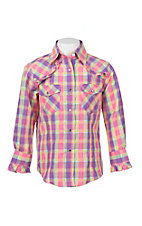 Wired Heart Girl's Yellow, Pink, and Purple Plaid with Ruffled Yokes Long Sleeve Western Snap Shirt