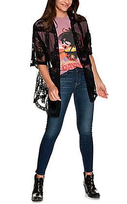 Favlux Women's Black Floral Lace Short Sleeve Kimono